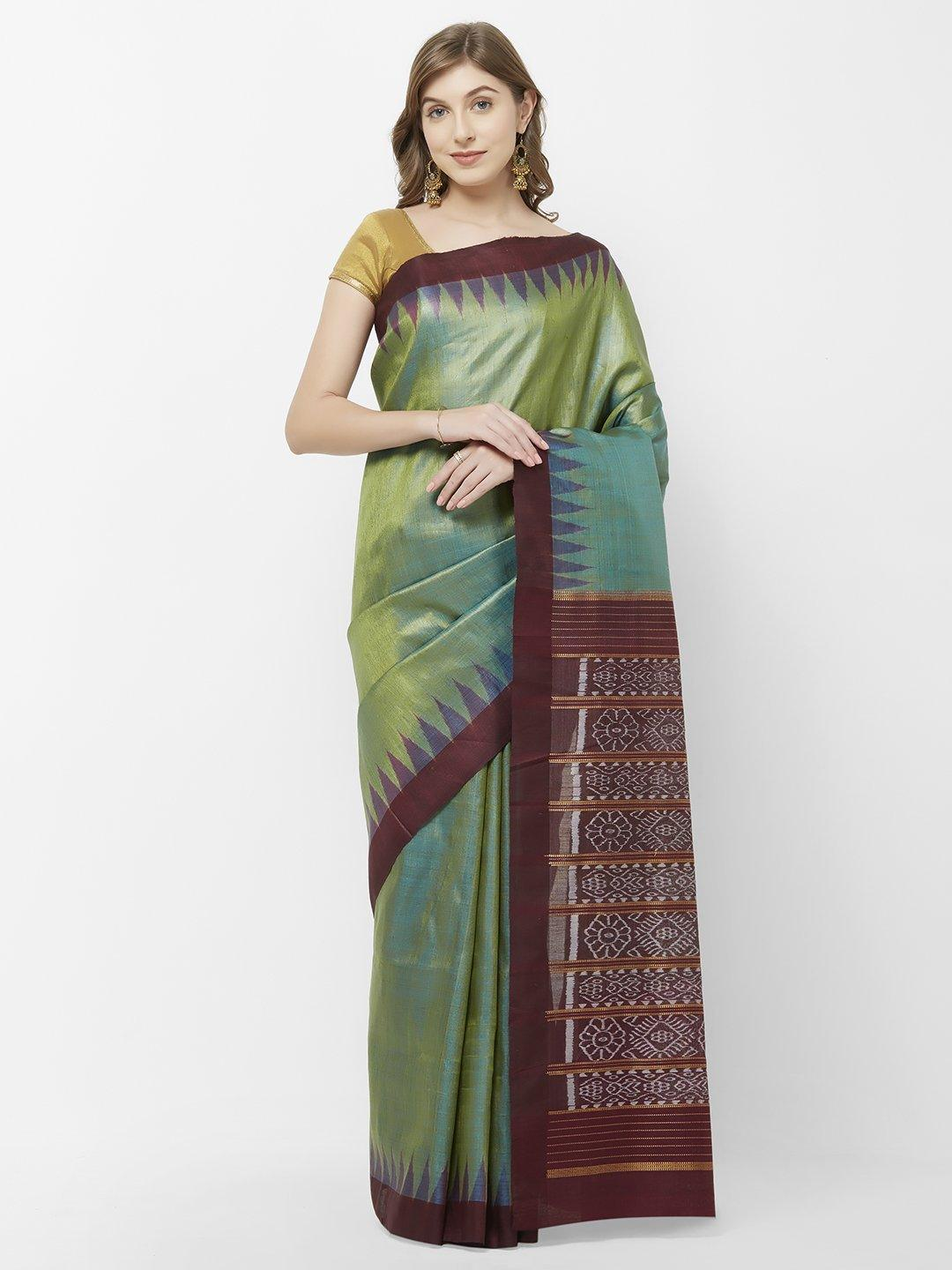 CraftsCollection.in - Green Brown Tussar Silk Sambalpuri Saree