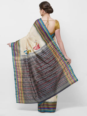 CraftsCollection.in -Offwhite Tussar Silk Sambalpuri Saree with handpainted Pattachitra motifs