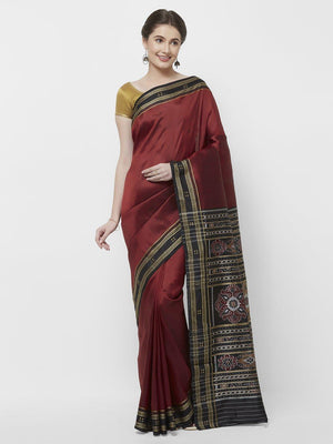 CraftsCollection.in -Red  Odisha Sambalpuri Silk Saree