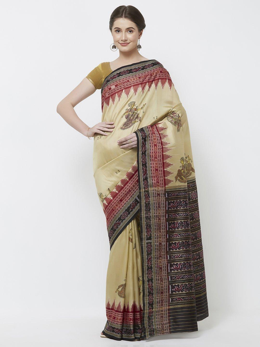 CraftsCollection.in -Cream  Odisha Sambalpuri Silk Saree with handpainted Pattachitra motifs