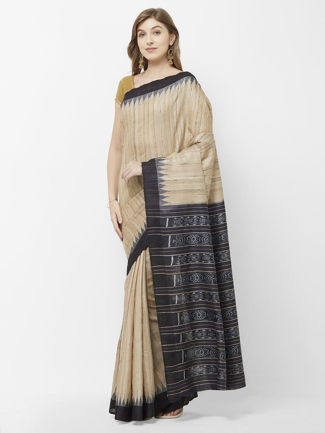 CraftsCollection.in -Beige and Black Tussar Ghicha Silk Sambalpuri Saree