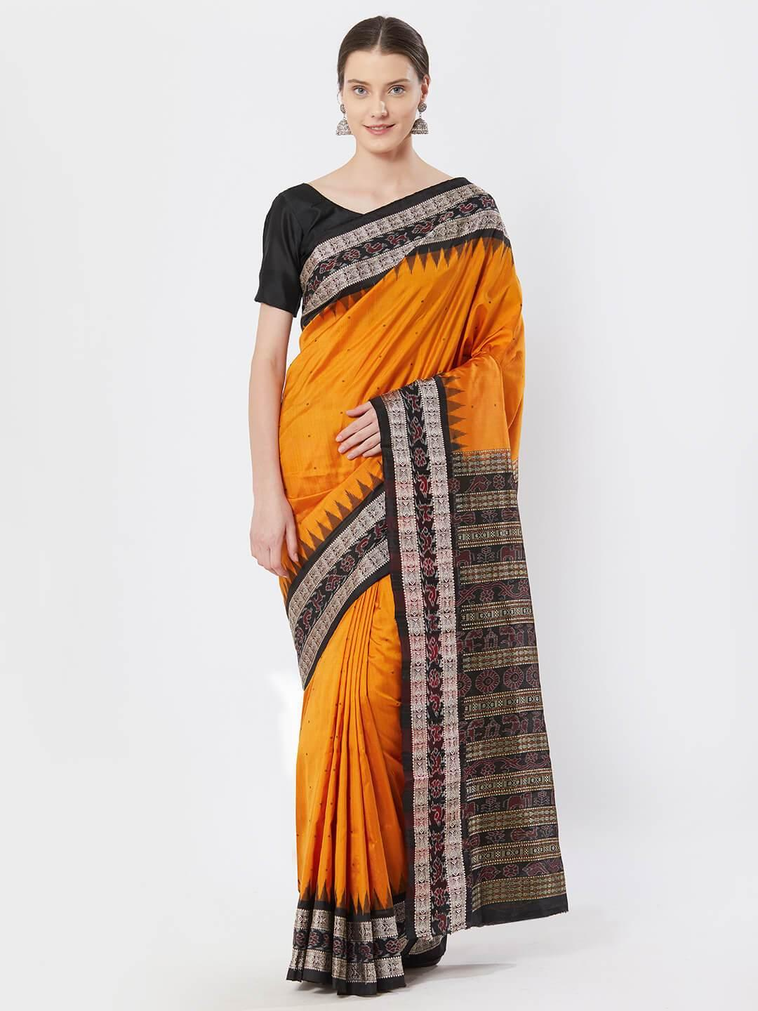 CraftsCollection.in - Golden Bomkai Silk Saree