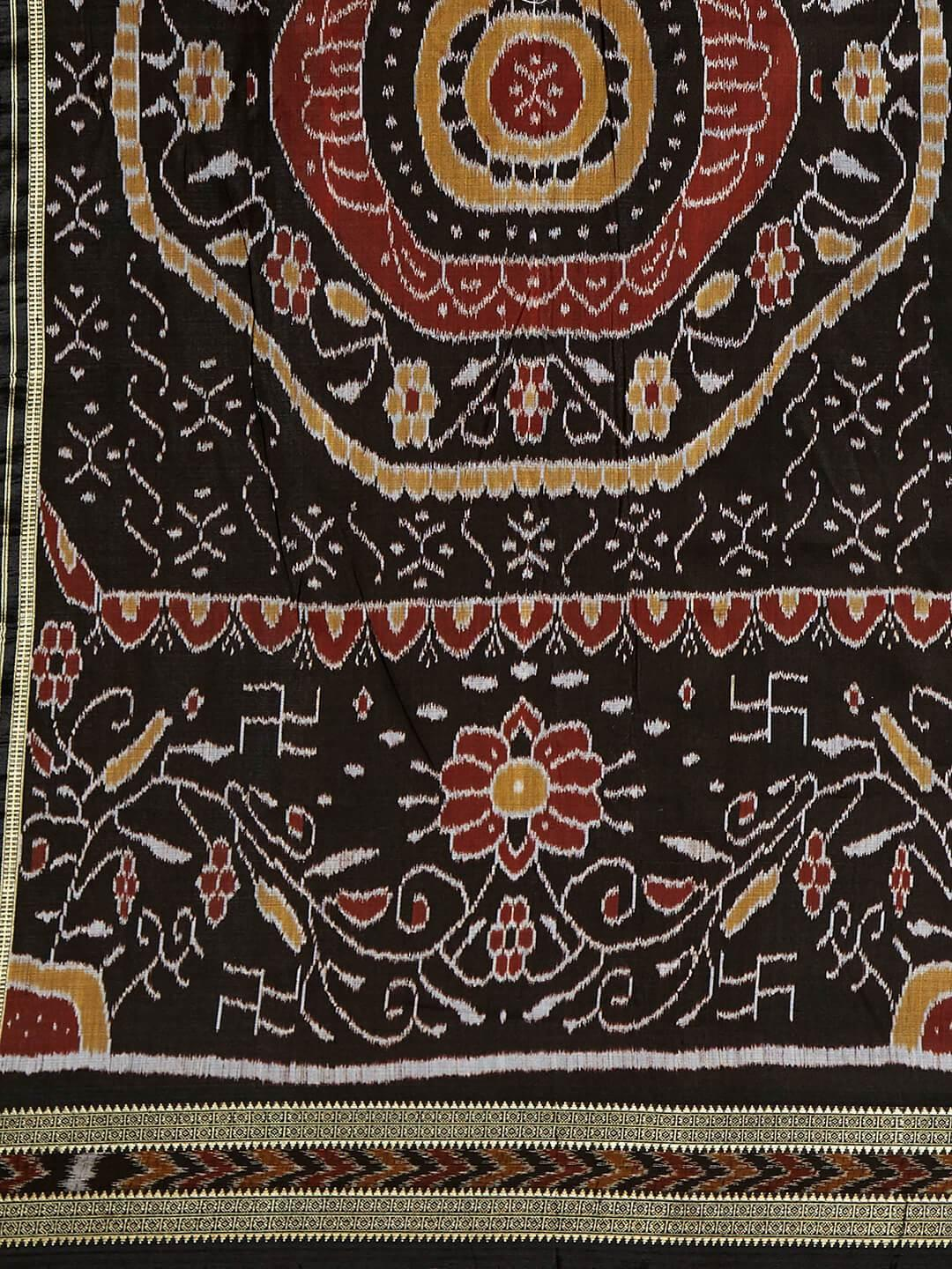 CraftsCollection.in - Black Khandua Silk Saree