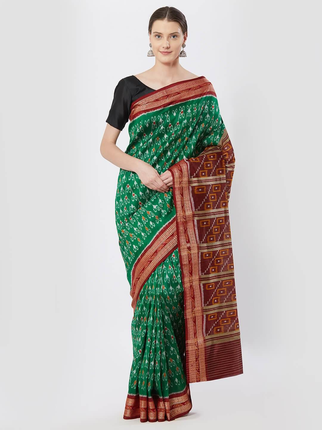 CraftsCollection.in - Green Bomkai Silk Saree