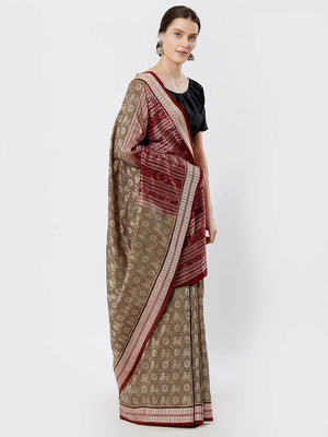 CraftsCollection.in - Olive-Green Bomkai Silk Saree