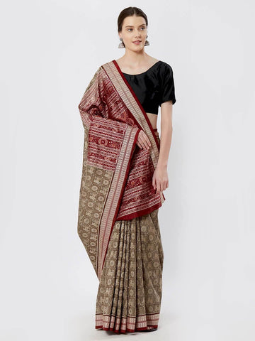 CraftsCollection.in - OliveGreen Bomkai Silk Saree