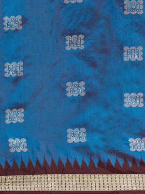 CraftsCollection.in - Blue and Maroon Bomkai Silk Saree