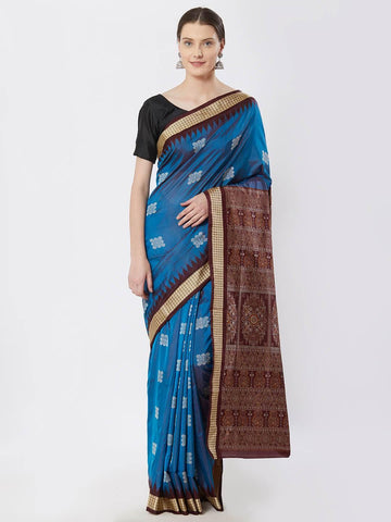 CraftsCollection.in - Cuppersulphate Bomkai Silk Saree