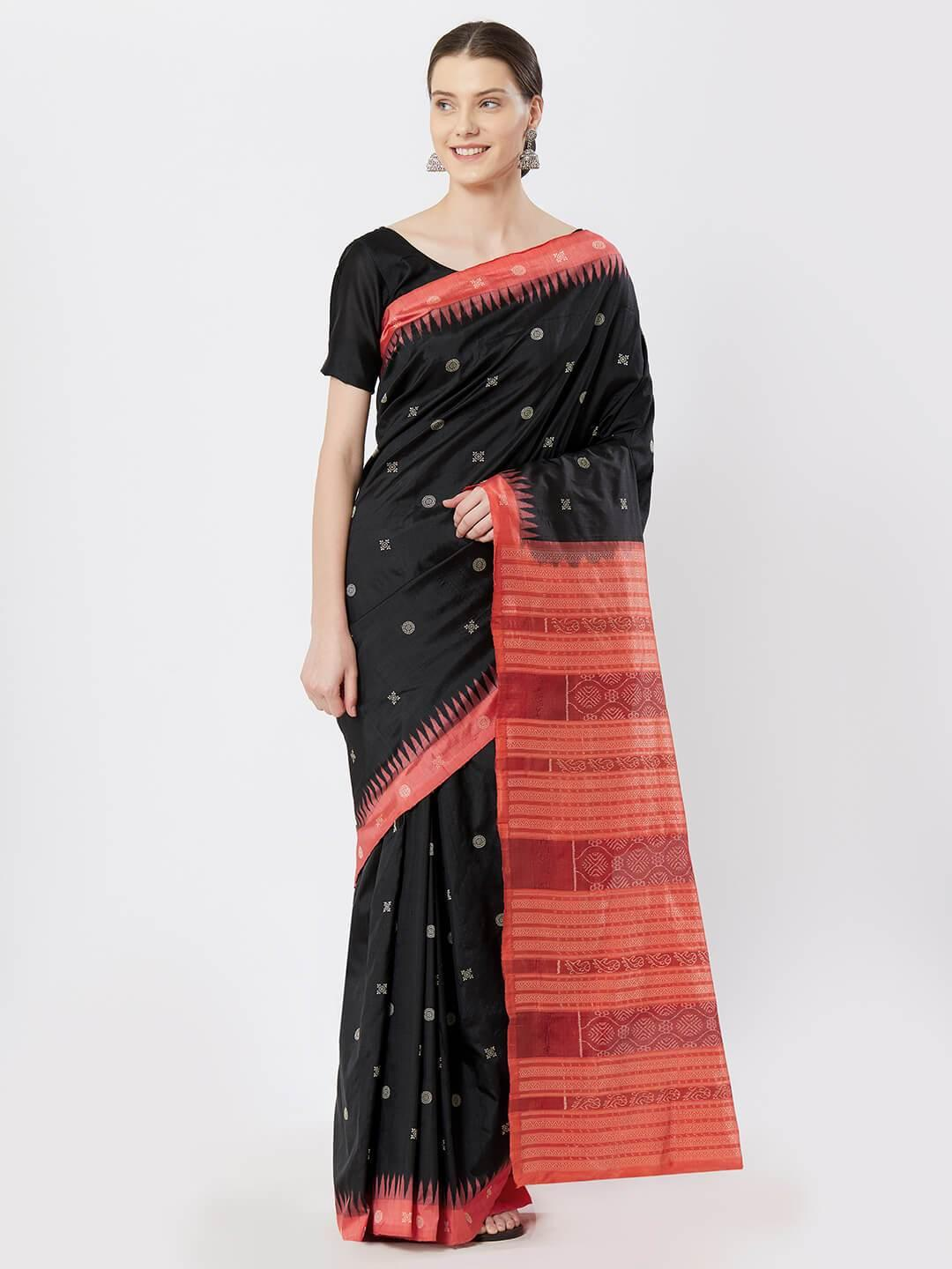 CraftsCollection.in - Black Bomkai Silk Saree