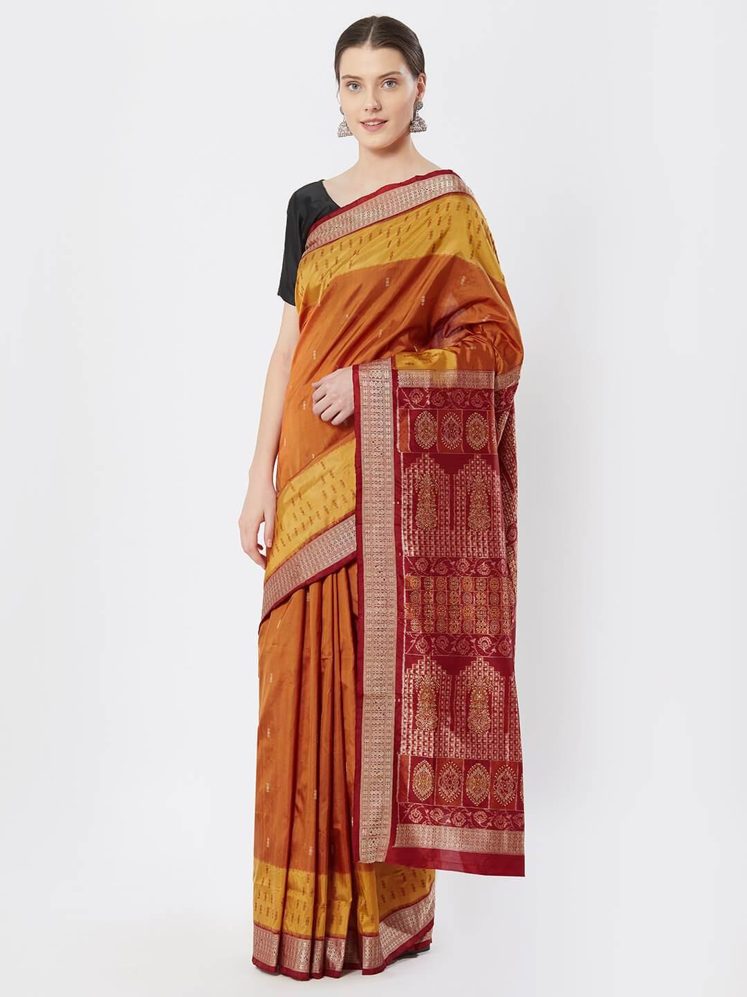 CraftsCollection.in - Orange Yellow Bomkai Silk Saree