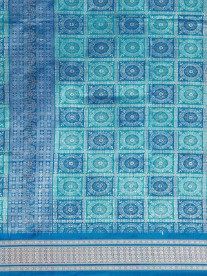 CraftsCollection.in - Blue Bomkai Silk Saree