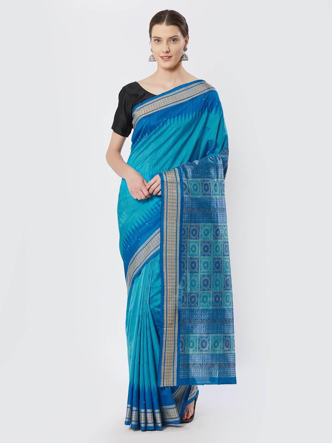 CraftsCollection.in - Cuppersulphate and Blue Bomkai Silk Saree
