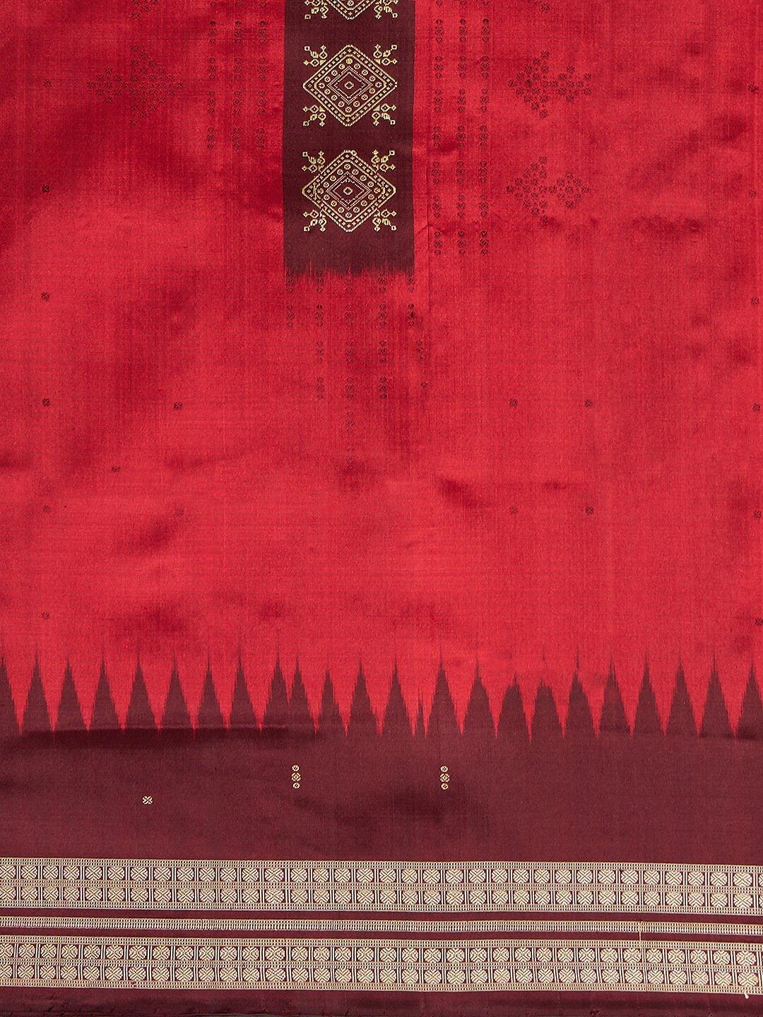 CraftsCollection.in - Red and Maroon Bomkai Silk Saree