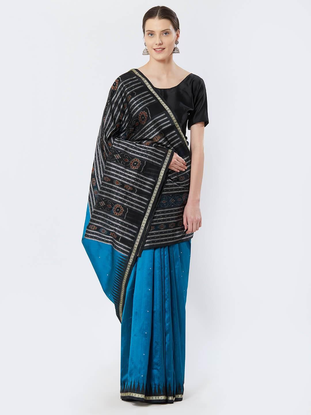 CraftsCollection.in - Blue and Black Bomkai Silk Saree