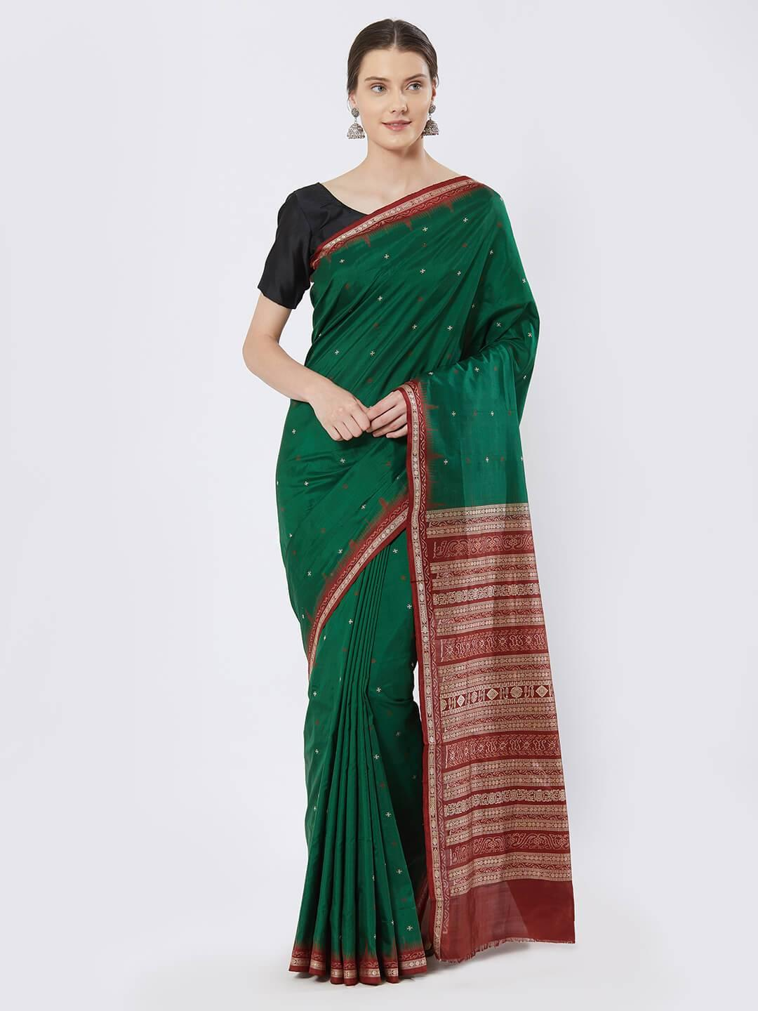 CraftsCollection.in - Green and Red Bomkai Silk Saree