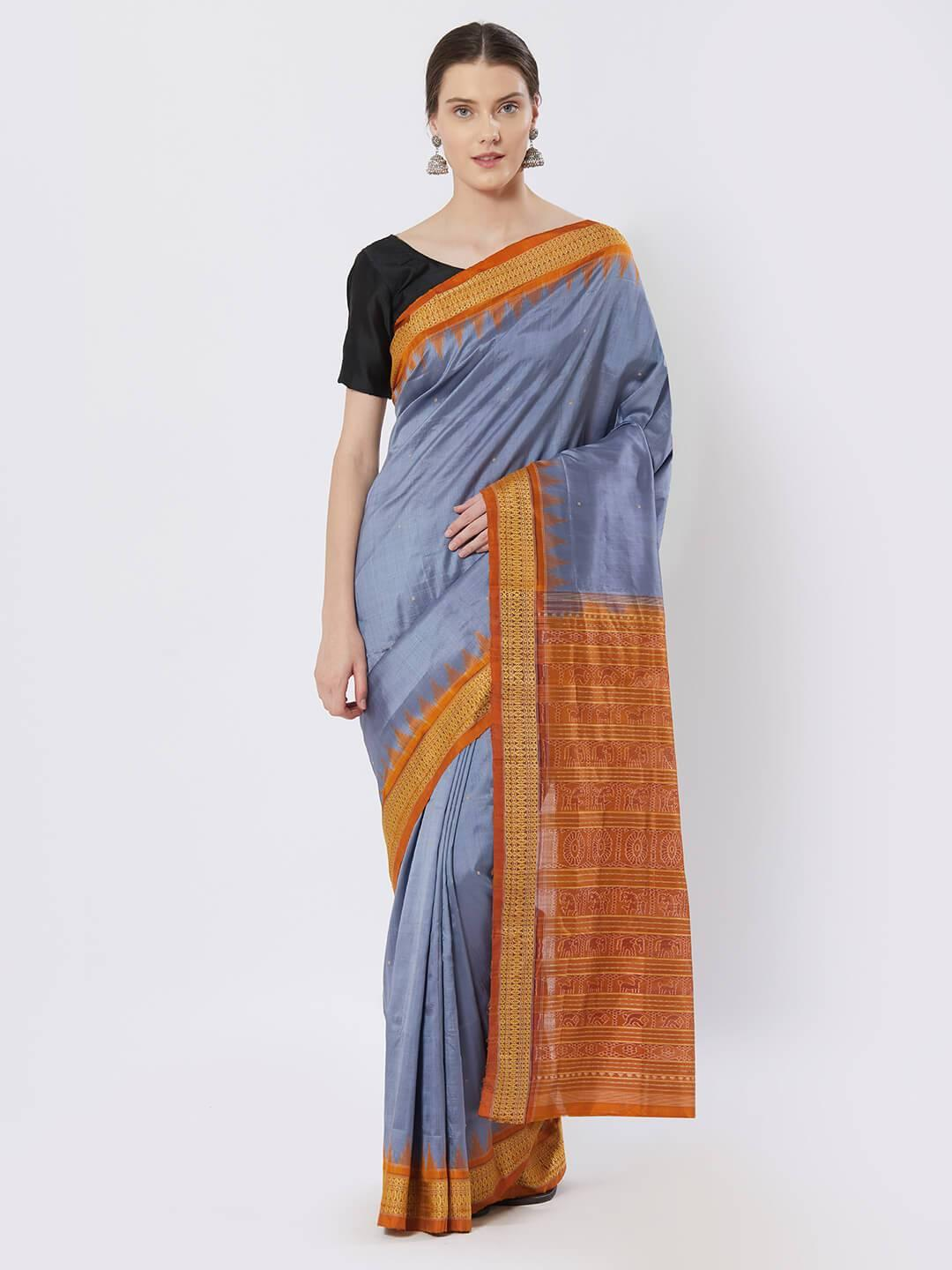 CraftsCollection.in - Grey and Orange Bomaki Silk Saree