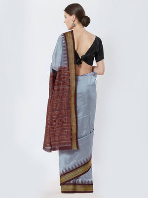 CraftsCollection.in - Grey and Maroon Bomkai Silk Saree