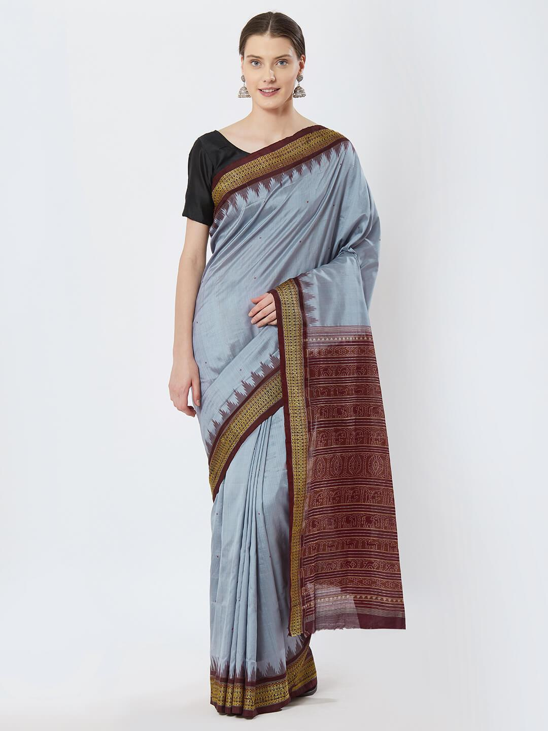 CraftsCollection.in - Grey and Maroon Bomaki Silk Saree