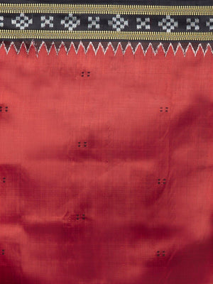 CraftsCollection.in -Red and Black Odisha Sambalpuri Silk Saree