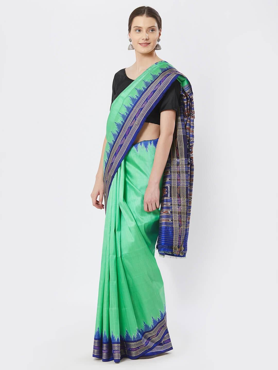 CraftsCollection.in - Green  Khandua Silk Saree