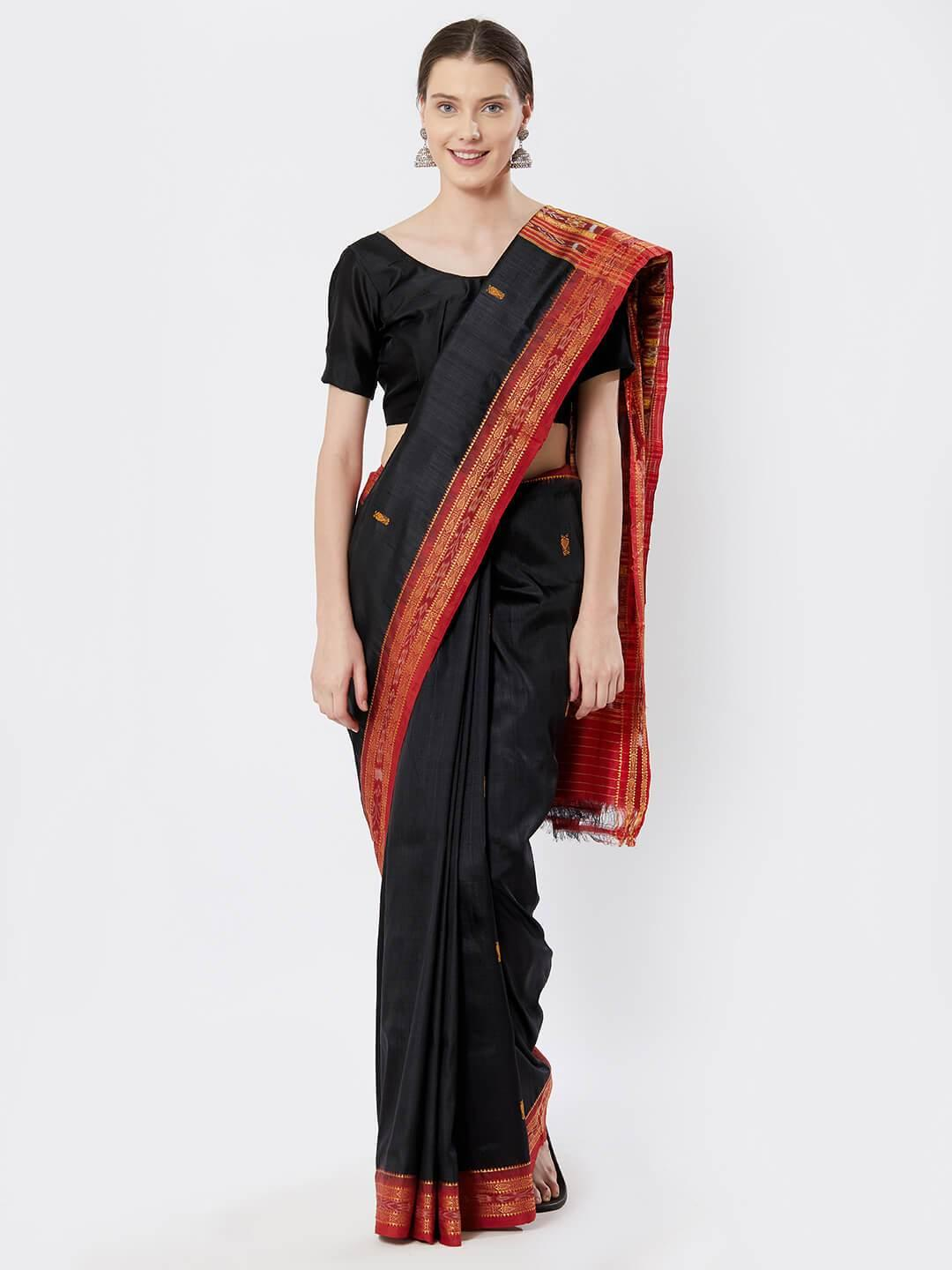 CraftsCollection.in - Black n Red Khandua Silk Saree