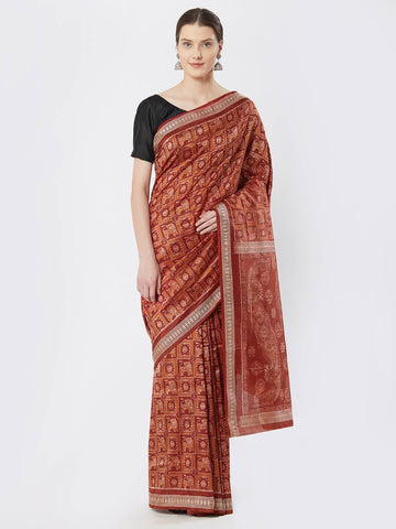 CraftsCollection.in - Maroon and Orange Bomkai Silk Saree