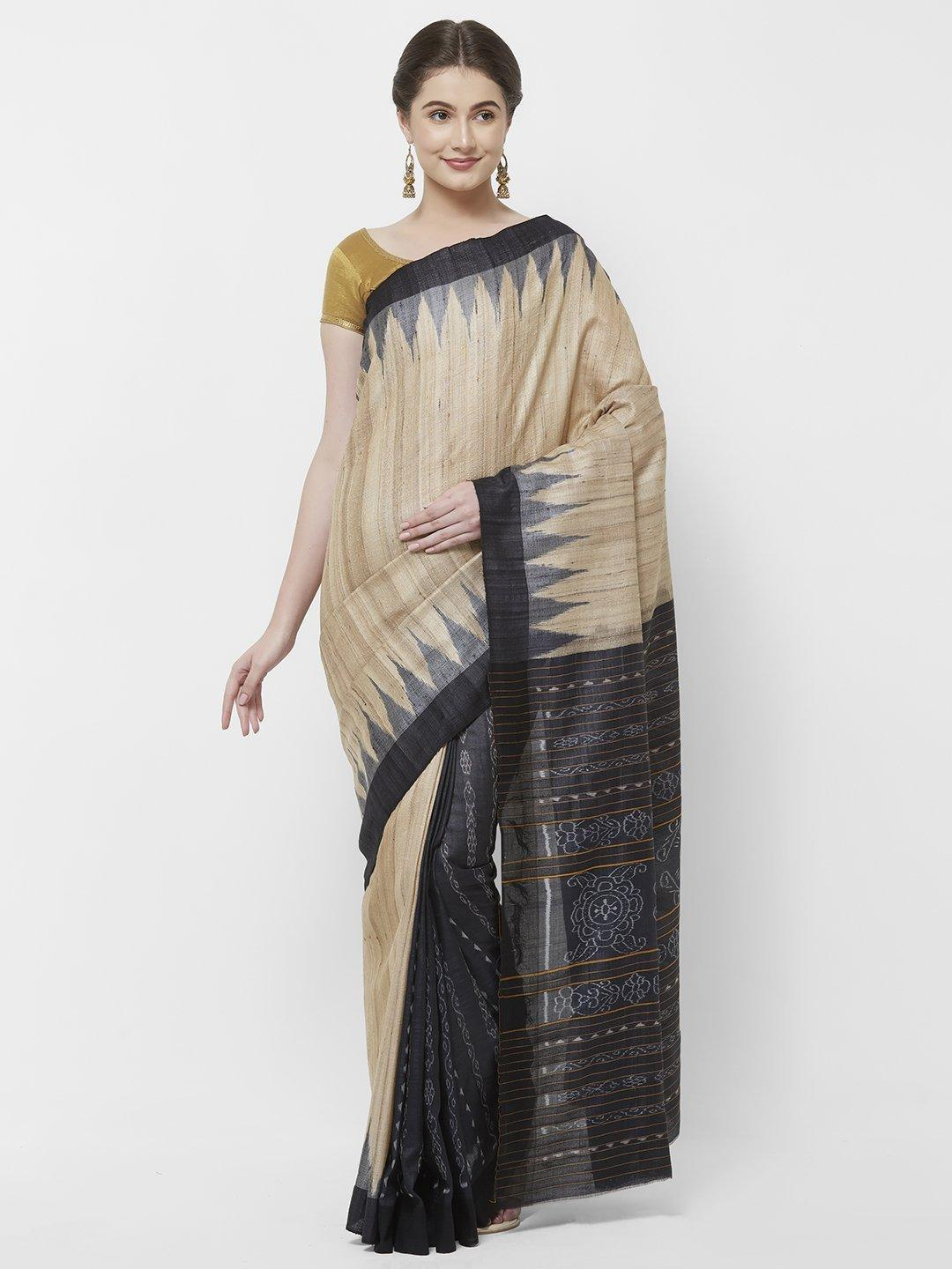 CraftsCollection.in - Beige and Black Patli Tussar Ghicha Silk Sambalpuri Ikat Saree