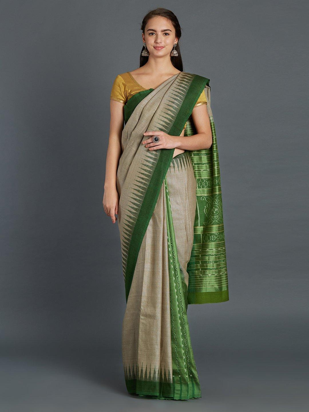 Grey and Green Patli Tussar Silk Sambalpuri Saree
