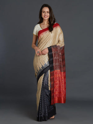 CraftsCollection.in - Beige and Black Tussar Ghicha Silk Sambalpuri Bandha Saree