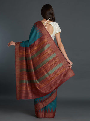 CraftsCollection.in - Blue Maroon Pedancle Tussar Silk Saree with Zari border and Palla