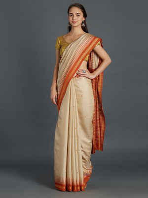 CraftsCollection.in - Bapta Silk Beige and Orange Sambalpuri Bandha Saree