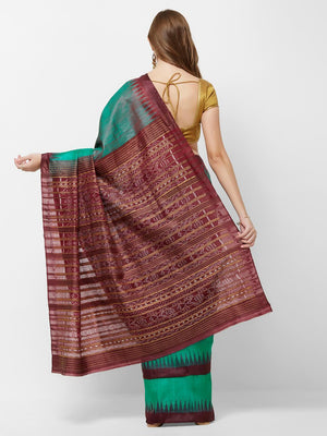 CraftsCollection.in -Double Colour Tussar Silk Sambalpuri Ikat Saree