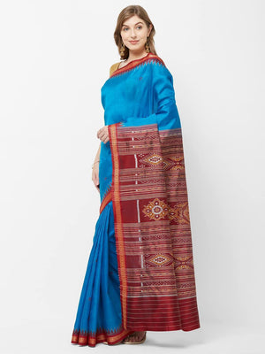 CraftsCollection.in -Blue Maroon Odisha Sambalpuri Silk Saree