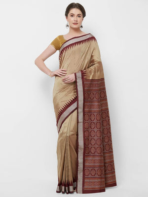 CraftsCollection.in -Golden and Maroon Bomkai Silk Saree