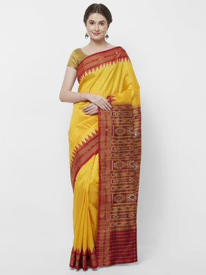 CraftsCollection.in - Yellow Odisha Sambalpuri  Silk  Saree