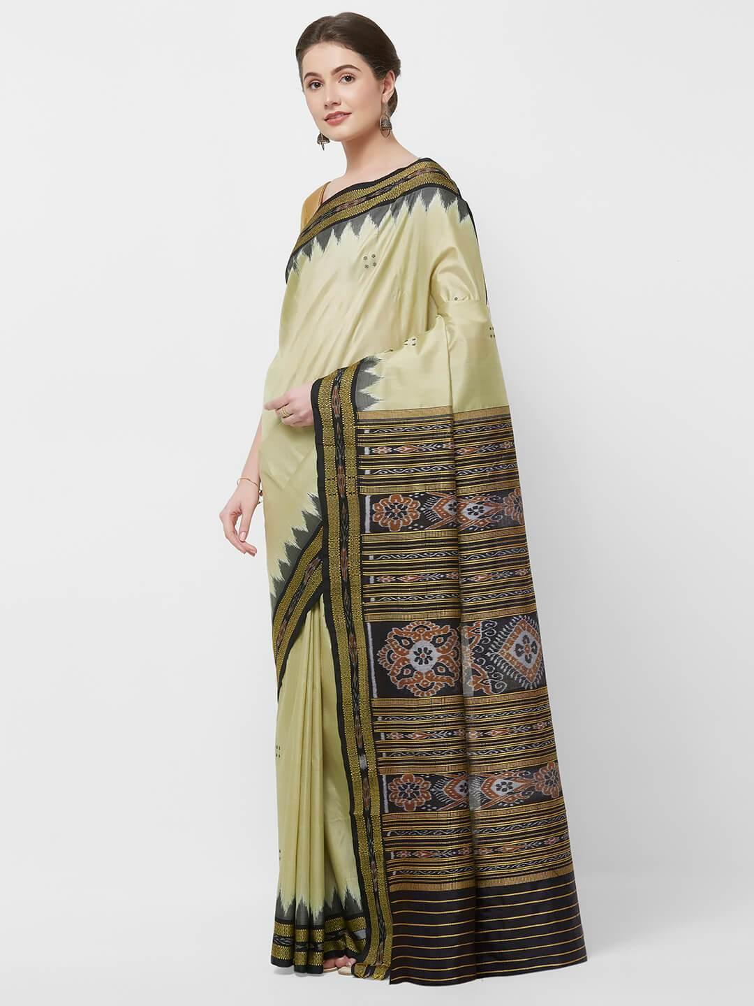 CraftsCollection.in -Beige and Black Odisha Sambalpuri Silk Saree