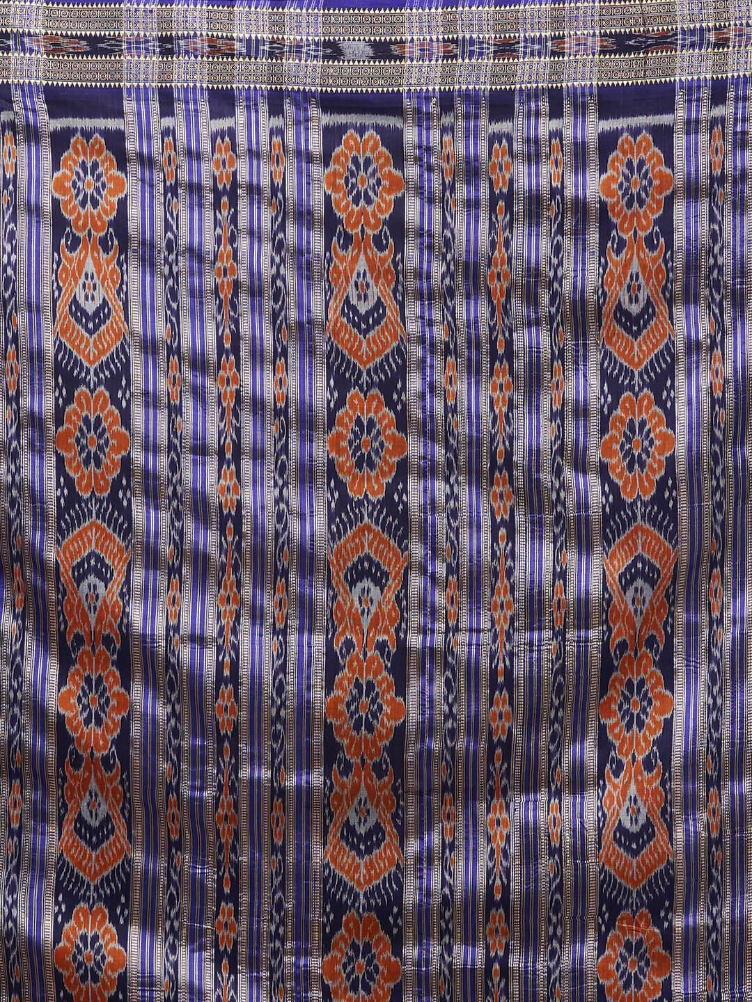 CraftsCollection.in -Pink and Blue Odisha Silk Sambalpuri Saree