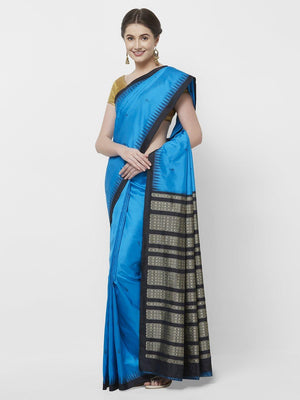 CraftsCollection.in -Blue and black Bomkai Saree with woven Fish motifs