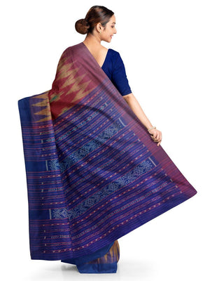 Maroon and Blue Tussar Silk Sambalpuri Saree with Pasapalli woven motifs