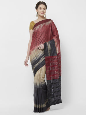 CraftsCollection.in -Multicolour Tussar Silk Saree with Sambalpuri Palla