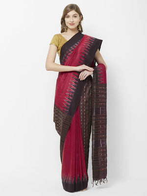 CraftsCollection.in -  Red Eri Silk Patli  Sambalpuri Saree