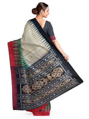 Beige Green wide border Tussar Silk Sambalpuri Saree