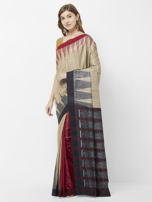 CraftsCollection.in - Beige Gangajamuna Tussar Silk Sambalpuri Ikat Saree