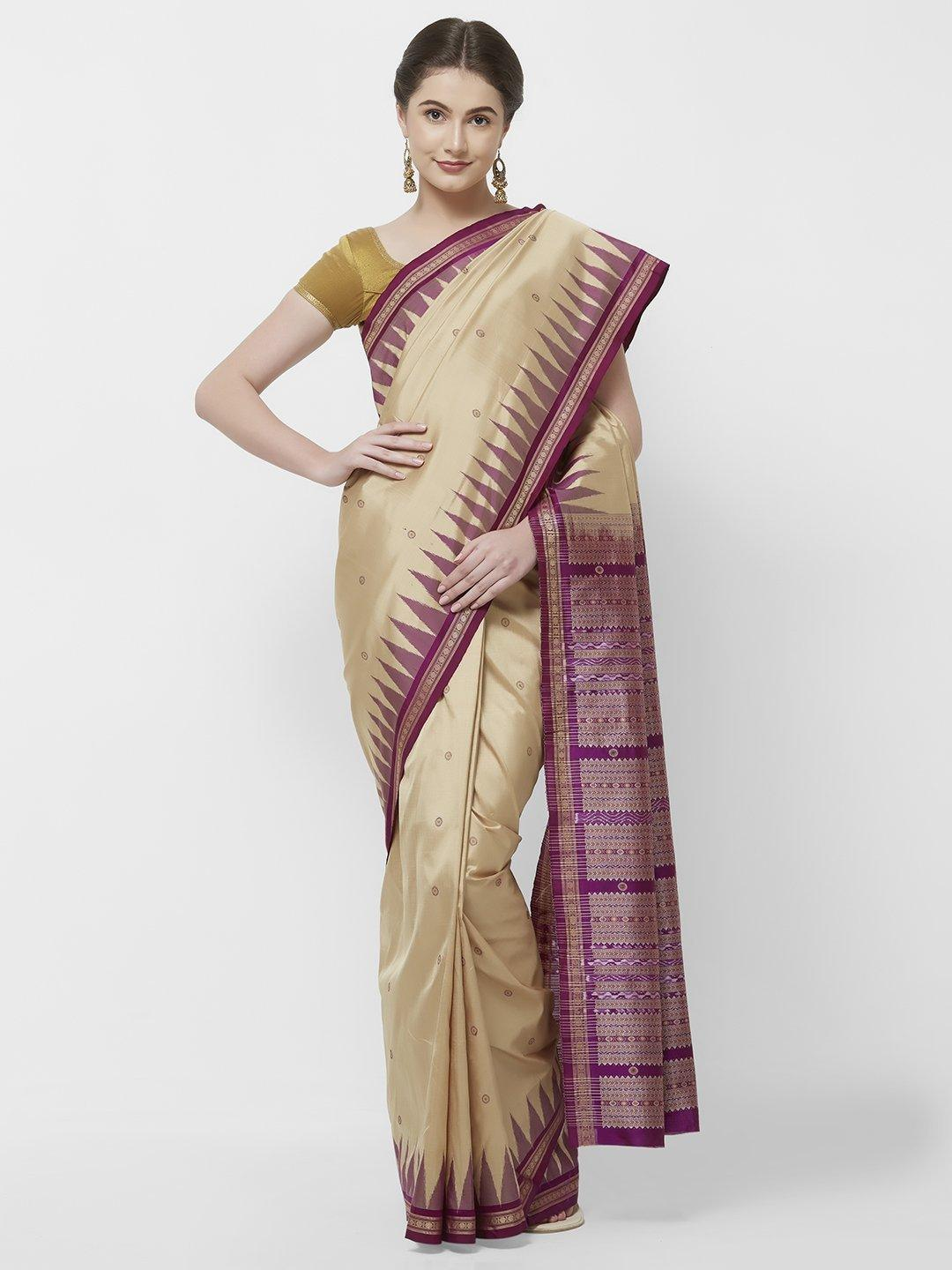 CraftsCollection.in -Beige and Purple Odisha Bomkai Silk Saree