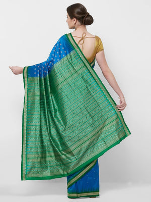 CraftsCollection.in -Blue and Green Odisha Bomkai Silk Saree