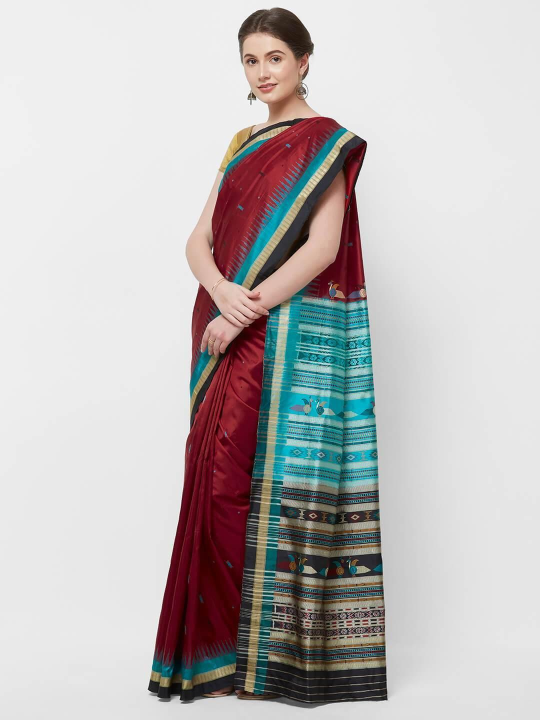 CraftsCollection.in -Red with Multi colour border Odisha Bomkai Silk Saree