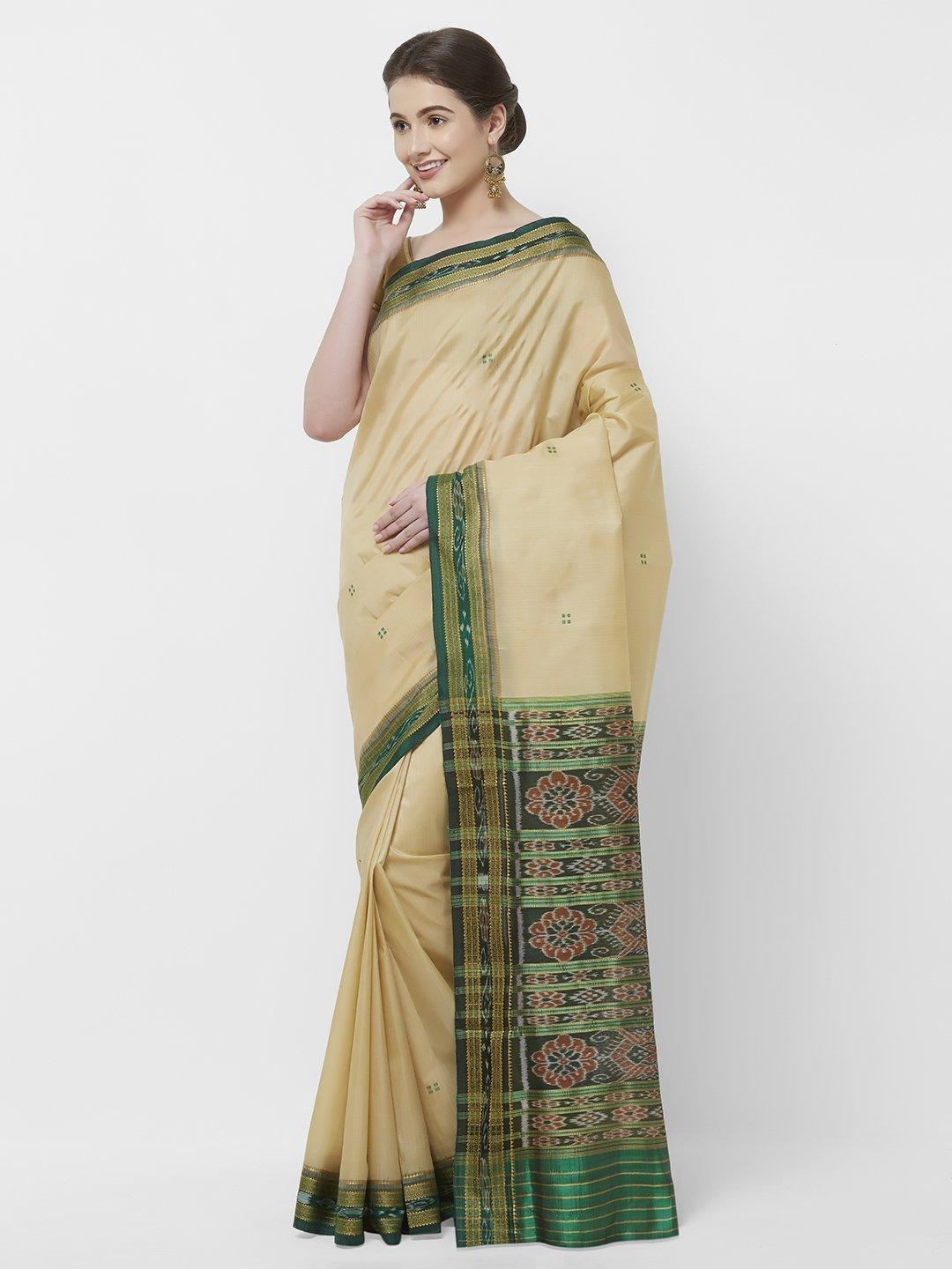 CraftsCollection.in -Beige and Green Odisha Sambalpuri Silk Saree