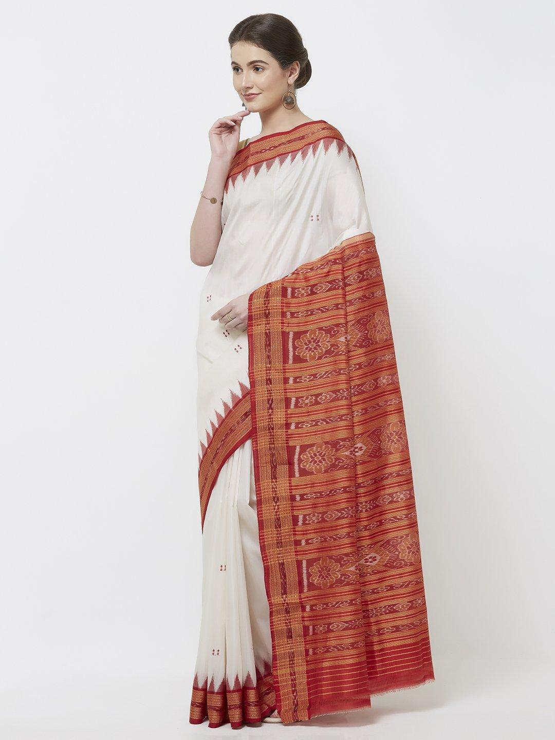 CraftsCollection.in -White and Red Odisha Sambalpuri Silk Saree