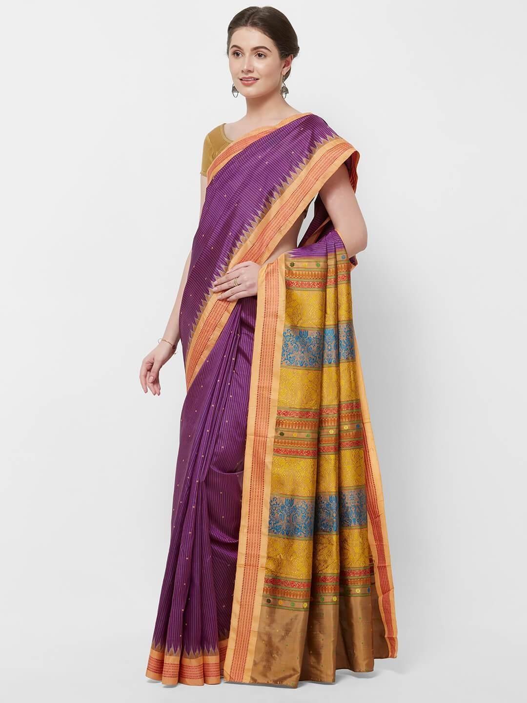 CraftsCollection.in -Purple and Peach Odisha Sambalpur Silk Saree