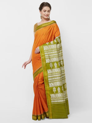 CraftsCollection.in -Orange and Green Odisha Sambalpur Silk Saree